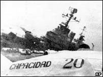 The Argentine ship Belgrano is sunk