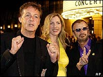 Sir Paul McCartney with wife Heather and Ringo Starr