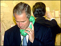 George Bush on phone