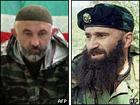 Chechen rebel leaders Aslan Maskhadov and Shamil Basayev
