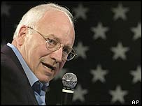US Vice-President Dick Cheney speaks at a rally in Des Moines, Iowa
