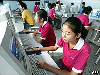 Women using the internet in China