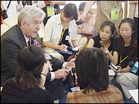 First Minister Rhodri Morgan talks to journalists at the China International Fair for Investment and Trade