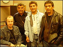 The Gipsy Kings with The Ticket's Mark Coles (left)