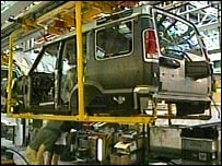 Land Rover assembly line