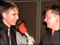 Alex Kapranos (left) talks to Radio Scotland's Vic Galloway