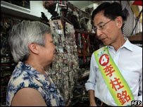 Martin Lee of the Democratic Party canvasses for votes