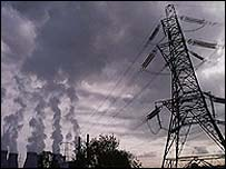 Electricity generation from fossil fuel power plant (BBC)