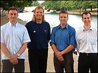 Andrew McCartney, Olympic rower Tim Foster, Martin Hirst and Alex Aldred