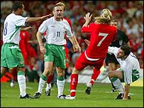 Michael Hughes clashes with Robbie Savage