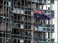 The wreckage of the Australian embassy in Jakarta after the September bomb