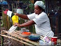 Negocio de comida en las calles de Brasil.