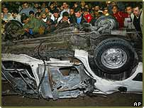 The wreckage of the car of Abdel Aziz Rantissi