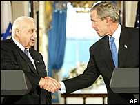 Ariel Sharon (left) and George W Bush
