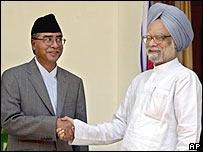 Sher Bahadur Deuba with Manmohan Singh