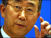 08/09/2004 Associated Press South Korean Foreign Minister Ban Ki-moon gestures during a briefing at the Foreign Ministry in Seoul Wednesday, Sept. 8, 2004