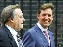 John Prescott and Alan Milburn walk out of Cabinet on Thursday morning