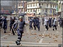 Riot police in Kathmandu on Saturday 17th April 2004