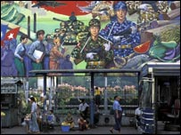 Military mural at a Burmese bus stop