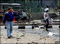 Blast scene in Jakarta