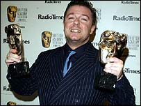 Ricky Gervais with his Bafta awards