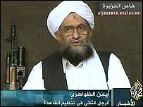 Ayman al-Zawahri speaks in a video message aired by al-Jazeera