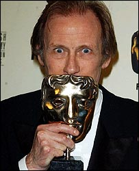 Bill Nighy with his Bafta for State of Play