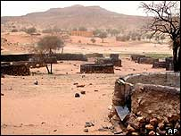 Destroyed village in Darfur