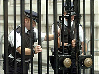 The gates at Downing Street