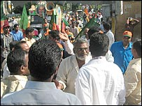 Rally confrontation in Hyderabad