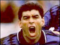 Diego Maradona celebrates a goal against Greece in 1994 World Cup