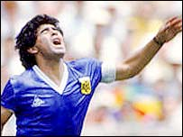 Diego Maradona looks anguished
