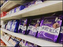 Chocolate bars on supermarket shelf, BBC