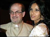 Salman Rushdie with bride Padma Lakshmi after the ceremony