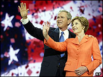 President George W Bush with wife Laura at the Republican convention