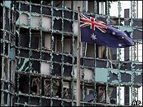 Blown out windows of Australian embassy in Jakarta