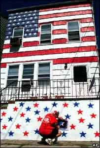 New Jersey house painted in the Stars and Stripes