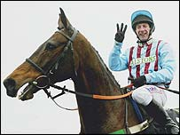 Jim Culloty celebrates Best Mate's third Cheltenham Gold Cup win