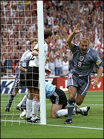 Alan Shearer scores for England against Germany in the Euro 1996 semi-finals