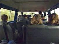 Inside of school bus