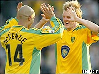Norwich's Leon McKenzie (left) and Mathias Svensson