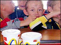 Children eating at McDonald's