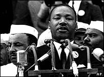 Martin Luther King addresses a political rally, AP