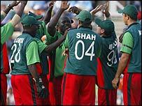 Kenya celebrate grabbing a wicket against India