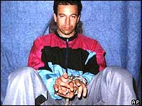 Daniel Pearl in shackles