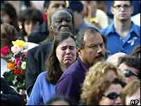 Relatives of victims at Ground Zero