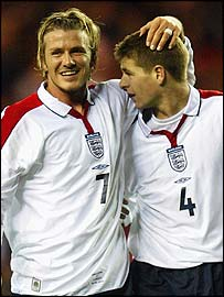 England's David Beckham and Steven Gerrard