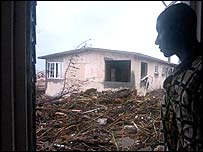 Debris left in the wake of Hurricane Ivan, in Kingston, Jamaica
