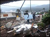 A Jamaican house destroyed by Hurricane Ivan