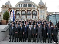 Group photo of the EU finance ministers outside the venue for their talks